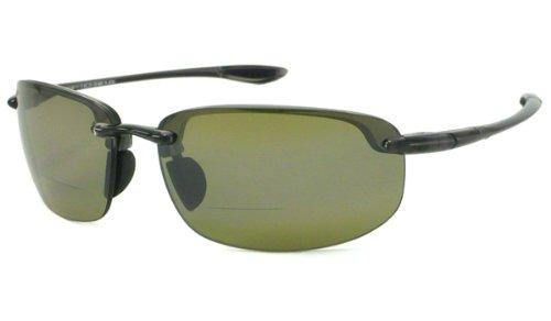 Sunglasses Reader Hookipa - Maui Jim Sunglasses | Ho'okipa Reader HT807-1120 | Smoke Grey Rimless Frame, Polarized Maui HT Lenses, with Patented PolarizedPlus2 Lens Technology
