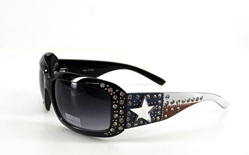 Ladies Sunglasses Texas Flag Rhinestone Lone Star Concho Red White Blue (Texas Bling)