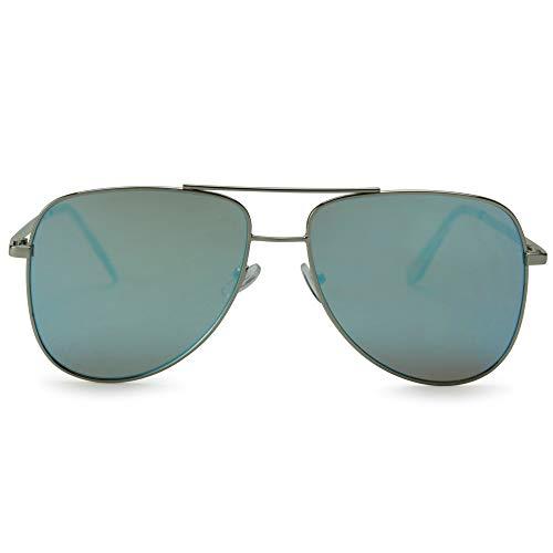 ADE Aviator Sunglasses for Men - Stylish Reflective Mirrored Flat Lens Aviators with UV Sun Protection - Duty Calls - Ice ()