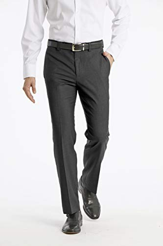 Calvin Klein Men's Modern Fit Performance Flat Front Dress Pant, Charcoal, 32W x ()