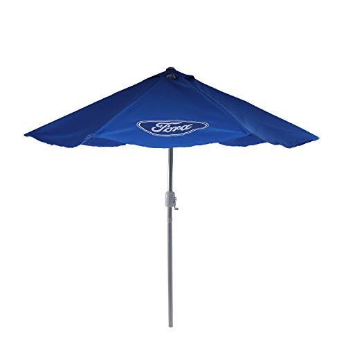 Northlight 9' Blue Ford Outdoor Umbrella with Hand Crank and Tilt - Officially Licensed