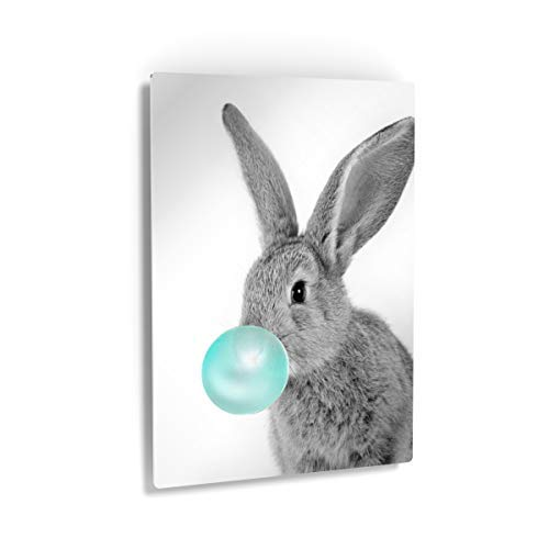 Bunny Rabbit Animal Bubble Gum Art Teal Blue Canvas Print Canvas Wall Art Black and White Wall Art Home Decoration Pop Art Living Room Kids Room Decor Nursery Decor