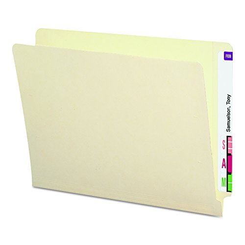 Smead End Tab Heavyweight File Folder, Shelf-Master Reinforced Straight-Cut Tab, Letter Size, Manila, 50 per Box  (24210) Manila Double Strength End Tab