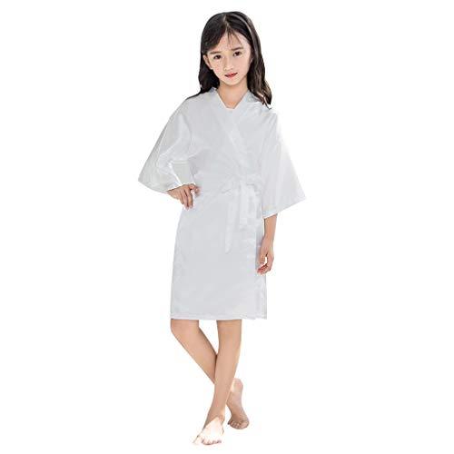 (Toddler Baby Bathrobe Girls Kids Satin Kimono Robe Nightgowns for Spa Party Wedding Birthday Silky Sleepwear (White, 8-9 Years))