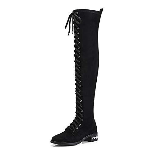 TSNMNB Botas de equitación Botas de Mujer Botas Botas de Mujer Sobre la Rodilla con Las Botas elásticas Botas de Martin Encaje de Mujer Negro