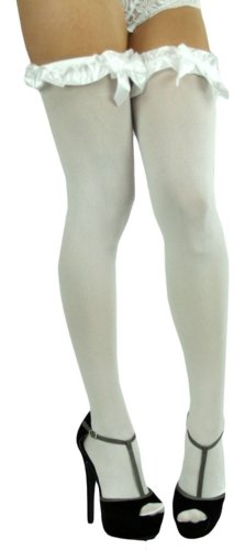 ToBeInStyle Women's Thigh High W/Ruffle Trim Top & Bow - One Size - White W/White Satin Bow Detail (Bow Lace Top Stocking)
