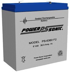Power-Sonic PS-6360F2  6V 36.0 Ah F2 Terminals by Powersonic