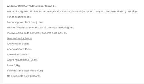 ROLLATOR TODOTERRENO TAIMA XL: Amazon.es: Salud y cuidado personal