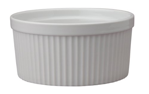 HIC Souffle, Fine White Porcelain, 6-Inch, 32-Ounce, 1-Quart Capacity - Bread Dipping Dishes