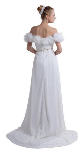 Fliegender Hof Reissverschluss Dearta Schulter Damen Weiß Schleppe Kleidungen der Linie Chiffon Ab A Aermel Brautkleider 0zq0w