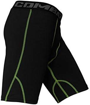 短いフィットネス ショーツを実行しているメンズ弾性速乾性パンツトレーニングスポーツフィットネス スポーツショーツ (色 : 緑, Size : M)