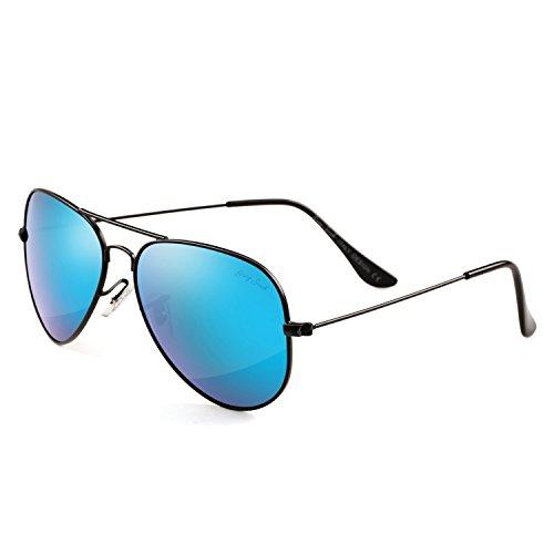GREY JACK Polarized Classic Aviator Sunglasses Military Style for Men Women Black Frame Ice Blue Lens ()