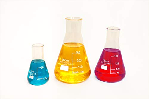 (Pk/3) Borosilicate Low Form Glass Erlenmeyer Flasks, 50/150/250