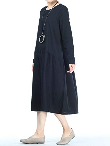 8346cbd3b0 Mordenmiss Women s Pleated Cotton Linen Long Sleeve Dresses with Pockets (M  Black)