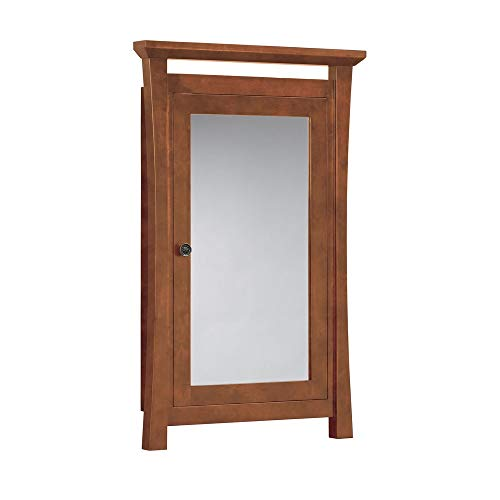 (RONBOW Essentials Pacific Rim 25 Inch Solid Wood Framed Medicine Cabinet in Cinnamon Finish with Adjustable Shelves Inside, Two Mirrors on Front and Back Side of Door 616025-F08)