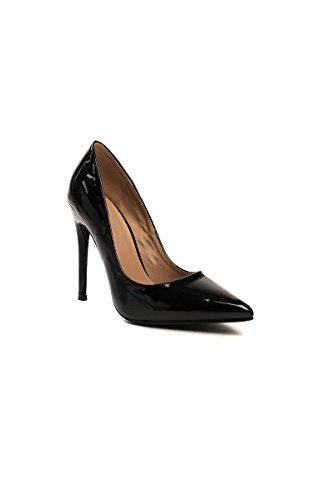 Ikrush Womens Leona Patent Finish Court Heels Black nmagsofu