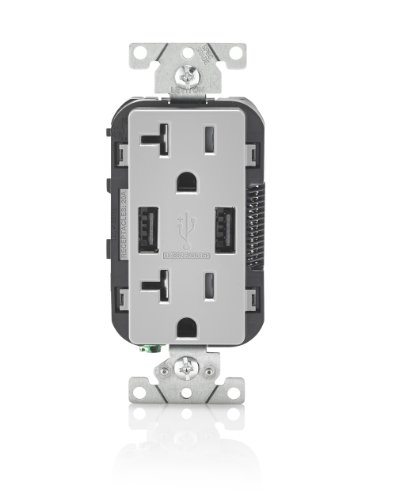 Leviton T5832-GY 20-Amp USB Charger/Tamper Resistant Duplex Receptacle, - Gray Plug