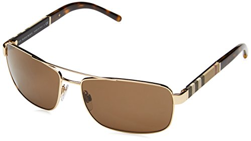 Burberry BE3081 Sunglasses 101773-63 - Gold Frame, Brown - Gold Burberry