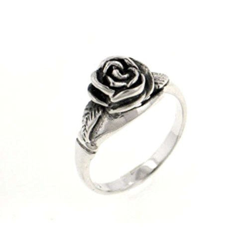 Small Sterling Silver Detailed Rose Flower Ring Size 9(Sizes 3,4,5,6,7,8,9,10,11,12)