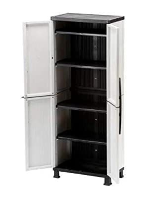 HDX 27 in. W 4-Shelf Plastic Multi-Purpose Tall Cabinet in Gray