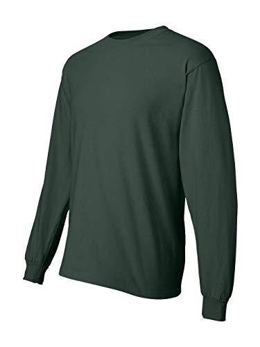 Adult Heavyweight Long Sleeve T-shirt - Hanes Men`s Adult Beefy-T Long-Sleeve T-Shirt,Large,Deep Forest
