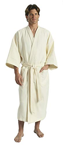 Monarch/Cypress Diamond Waffle Spa Kimono Robe - Soft Light Hotel Bathrobe (Large, ()
