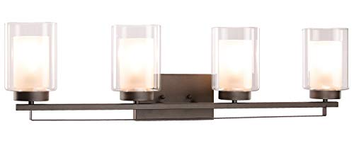 """Wall Light 4 Light Bathroom Vanity Lighting with Dual Glass Shade in Dark Bronze Indoor Wall Mount Light XiNBEi-Lighting… - DIMENSIONS: W: 34-1/4"""" x H: 9"""" extends 6-1/4"""" from the wall MEDIUM BASE SOCKET: Suggest to take four maximum 60 watt Medium base bulbs (incandescent, CFL or LED compatible). Bulbs not included FEATURE: Hardwired, Dark Bronze vanity light fixture with dual glass shade; Fixtures can be mounted as either up light or downlight. - bathroom-lights, bathroom-fixtures-hardware, bathroom - 31UMQQSfGML -"""
