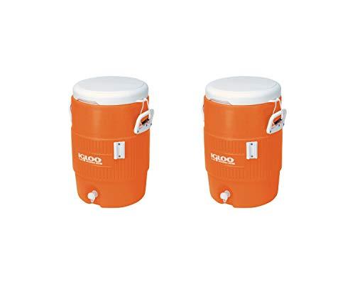"Igloo 5-Gallon Heavy-Duty Beverage Cooler, Orange & Ultimate Drip Catcher Set (2 Set, 5-Gallon, 14.5"" x 13"" x 19.5"", Orange)"