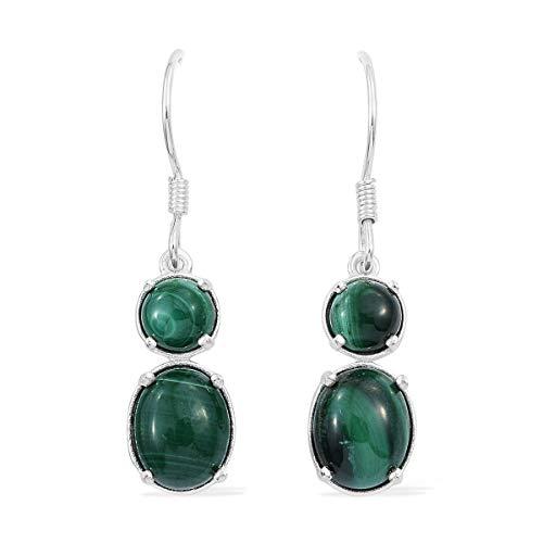 Dangle Drop Earrings 925 Sterling Silver Oval Malachite Gift Jewelry for Women