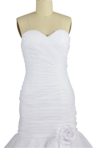 Bianco Bianco Charmingbridal Piega Da Organza Sirena Sposa Avorio Abiti Tesoro qxz4wpBaP