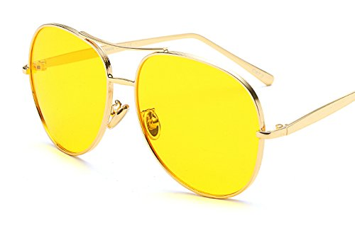 Vintage Retro Oversized Aviator Sunglasses Gold Metal Gradient Lens Round Shape (Gold/Yellow, - Yellow Oversized Sunglasses Aviator