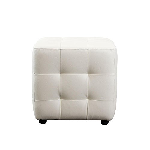 White Leather Zen - Diamond Sofa Zen Collection Bonded Leather Tufted Cube Accent Ottoman, White