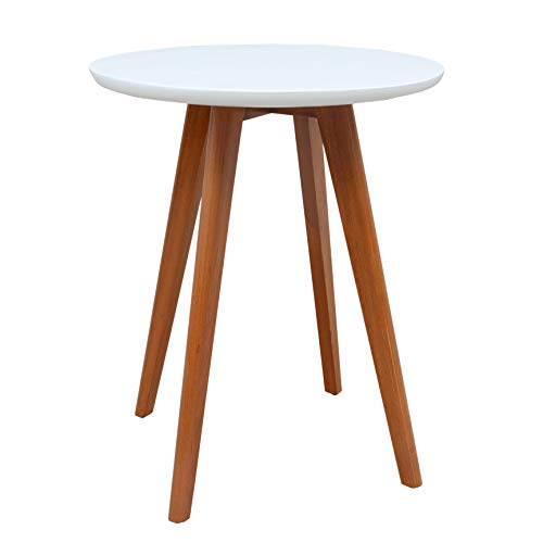 Porthos Home CO008B WHT Side Table with Solid Pine Round Top and Four Wooden Legs One Size ()