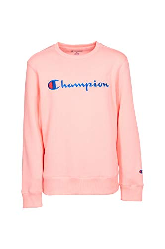 Champion Unisex Heritage Kids Fleece Script Pullover Sweatshirt (Big Kids Medium, Pink Bow)