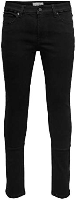 ONLY & SONS Męskie dżinsy Skinny Fit ONSWarp Black: Odzież