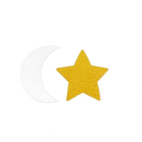 TooMeeCrafts Double Sided Silver Crescent Moon and Gold Twinkle Star Party Decoration Baby Shower or Birthday Party Pack of 24 ()
