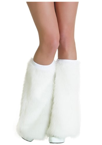 Adult White Furry Boot Covers Standard