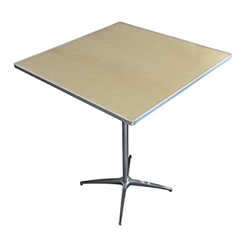 Bistro   Cocktail Table  Heavy Duty 36 Inch Square Adjustable Height Wood  Table With Aluminum