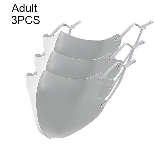 Fenfangxilas Fashion Unisex Mouth Face Cover 3Pcs Reusable Adult Kids Anti Haze Droplet Adjustable Ear Hook Washable Safety Face for Dust Protection – Adult Grey Normal 3pcs