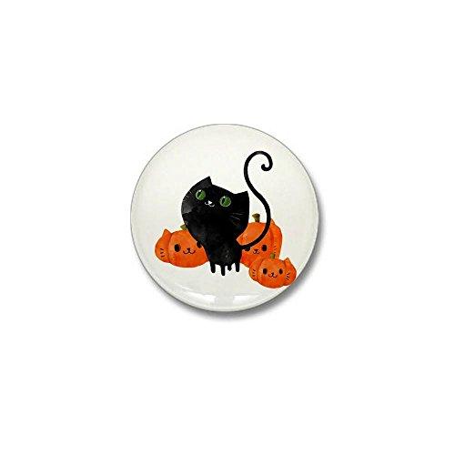 CafePress - Black Cat and Pumpkin Heads Mini Button - 1