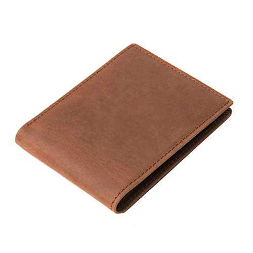 Men's Vintage Italian Genuine Leather Slim Bifold Wallet, Brown