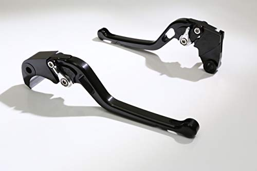 Autobahn88 Motorcycle Clutch + Brake Lever Set for Honda : Shadow 750 Black Spirit (2014-2016) (Long Style : Black+Silver/Handle+Adjuster) ()