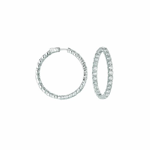 14K White Gold Hoop Earrings (patented snap lock) - 10ctw. Diamond
