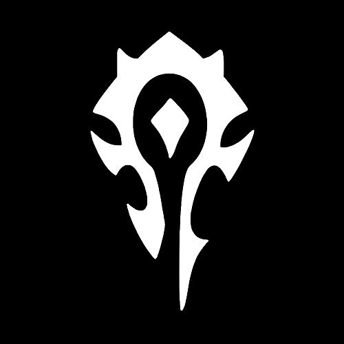 (Horde World of Warcraft Symbol [Pick Any Color] Vinyl Transfer Sticker Decal for Laptop/Car/Truck/Window/Bumper (5in x 3in (Standard Car Size), White))