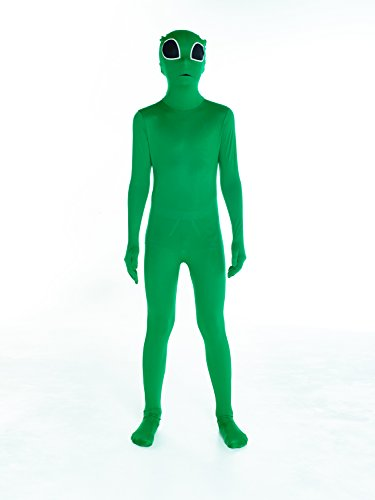 [Glow Alien Kids Morphsuit Costume - size Medium 3'6-3'11 (105cm-119cm)] (Quick And Easy Halloween Costumes To Make At Home)