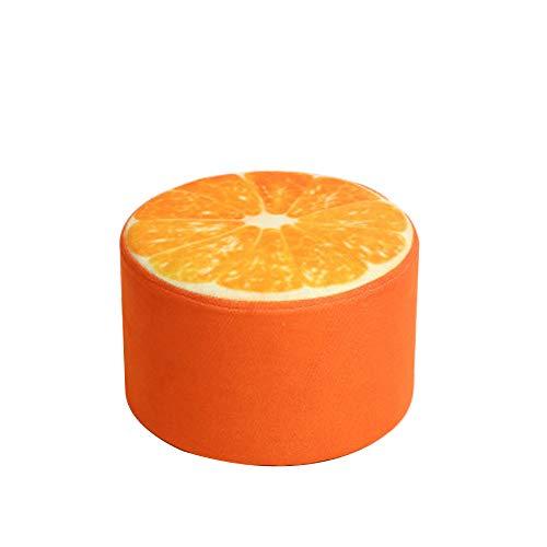 Corldif Round Ottoman Foot Stool/Linen Fabric Cover, Short Leg,Children Size(Orange) ()