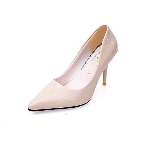 TMKOO El nuevo club nocturno atractivo de alta con escogen los zapatos finos con la boca baja señaló modelos de zapatos de tacón alto de explosión Beige