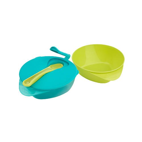 Tommee Tippee 2-Pack Explora Easy Scoop Bowls With Spoon - Turquiose/Lime Green-Easy Scoop Bowls with Spoon