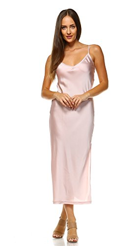 O2 Collection [Shop Lev] Women V-Neck Bias Cut Satin Full Slip Camisole Dress/Nightwear (Pink, X-Large_Long) (Camisole Stretch Slip)