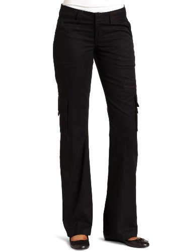 Dickies Women's Relaxed Fit Straight Leg Cargo Pant, Black, 14/Regular (Twill Stretch Signature Pants)